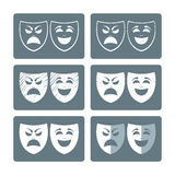 Theater masks icons. In different graphic styles Royalty Free Stock Photography
