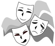 Theater Masks Illustration Representing Three Mask Different Facial Expression Happy Angry Sad Theatermasken Stock Photo
