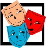 Colorful Theater masks on background. Illustration representing three theater mask with three different facial expression: happy, angry and sad Royalty Free Stock Photo