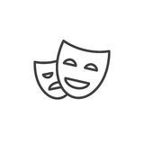 Theater masks line icon, outline vector sign, linear style pictogram isolated on white. Royalty Free Stock Photography