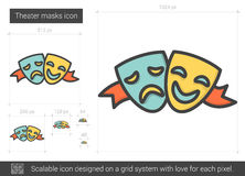 Theater masks line icon. Royalty Free Stock Photography