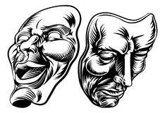 Theater Masks. An original illustration of Theatre Masks, comedy and tragedy, in a vintage style Stock Photo