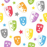 Theater Masks Seamless Pattern. An abstract seamless pattern with colourful theatre masks on white background. Useful also as design element for texture, pattern Stock Images