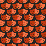 Theater masks seamless pattern vector. Comedy and tragedy theatrical masks comedy seamless pattern. Vector theater humor performance face. Tragedy drama emotion Stock Image
