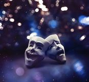 Theater masks on a stage / 3D illustration royalty free illustration