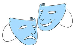 Theater masks symbol illustration. Comedy and tragedy theater Masks illustration Stock Photography