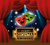 Theater masks ticket cinema lights. Vector illustration eps 10 Royalty Free Stock Photo