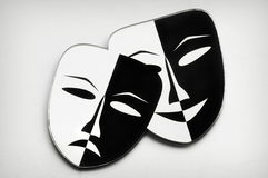 Black and white. Theater masks. White background Stock Photos