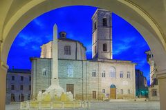 The Theater `Moriconi` - historical center of Jesi Italy 2014 July 22 stock photo