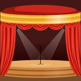 Theater or music concert scene with red curtain, lights. Bright theater or music concert scene with red curtain, lights and microphone stand in the center Royalty Free Stock Photos