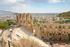 Theater Odeon from the Acropolis, Greece Stock Images