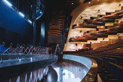 Theater orchestra pit and stage Royalty Free Stock Images