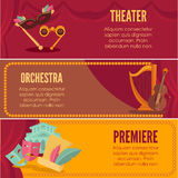 Theater or orchestra premiere banners vector templates Stock Image