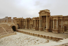 The theater of Palmyra. A view of the ancient theater of Palmyra Stock Photos