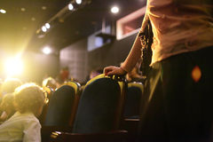 Theater. People in the theater in the evening Stock Photography