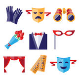 Theater Performance Decorative Icons Set Royalty Free Stock Photos