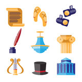 Theater Performance Decorative Icons Set Royalty Free Stock Image