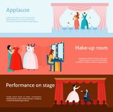 Theater performance flat banners set Stock Photography