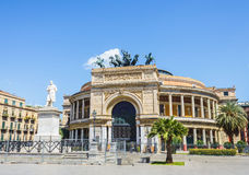 Theater Politeama square in Palermo, Italy Stock Photo