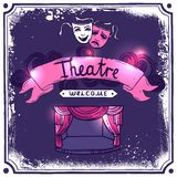 Theater Poster Sketch. Theater performance promo poster sketch with masks stage curtain and ribbon banner vector illustration Stock Photos