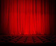 Theater red curtains and seats Royalty Free Stock Images