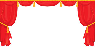 Theater red velvet curtain for stage in retro style,  on. White background Royalty Free Stock Photos