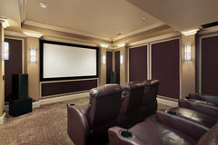 Theater room with lounge chairs Stock Photos