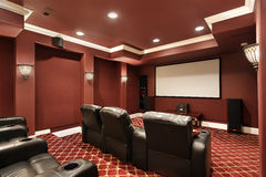 Theater room with stadium seating Royalty Free Stock Photography
