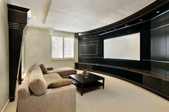 Theater room with wide screen