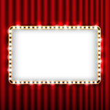 Theater scene with red curtain and sign gold frame Royalty Free Stock Images