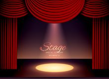 Theater scene with red curtains and falling spot light. Illustration Royalty Free Stock Photography