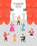 Theater-Schauspieler Characters Set Flache Leute-Theaterstadiums-Plakat Künstlerischer Mann und Frau Perfomances lizenzfreie abbildung