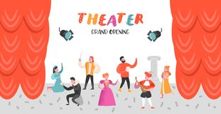Theater-Schauspieler Characters Set Flache Leute-Theaterstadiums-Plakat Künstlerischer Mann und Frau Perfomances stock abbildung