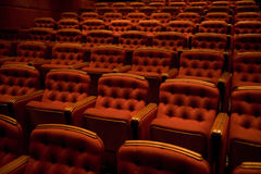 Theater Seating. A background with a view of the seating arrangement in a luxurious theater stock photo