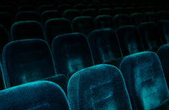 Theater Seats. Dark blue armchairs in a theater Stock Image