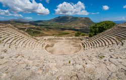 The theater in Segesta, ancient greek town in Sicily, southern Italy. Segesta was one of the major cities of the Elymian people, one of the three indigenous royalty free stock photography