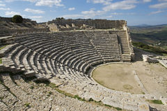 The theater in Segesta in Sicily Royalty Free Stock Image