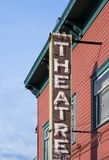 Theater sign. Old theatre sign on a wooden wall Royalty Free Stock Images
