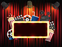 Theater sign or cinema sign on curtain with spot light Stock Image