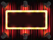 Theater sign or cinema sign on curtain with spot light Royalty Free Stock Photography