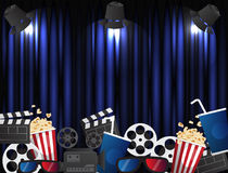 Theater sign or cinema sign on curtain with spot light. Vector Stock Photo