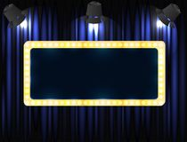 Theater sign or cinema sign on curtain with spot light. Vector Stock Photos