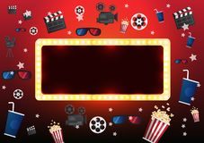 Theater sign or cinema sign on curtain with spot light. Vector Stock Photography