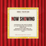 Theater sign or cinema sign on red curtain. Gold retro signboard. Vector royalty free illustration
