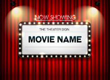 Theater sign on curtain. And spot light background Royalty Free Stock Images