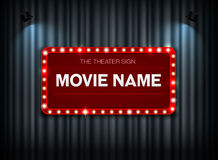 Theater sign on curtain. And spot light background vector illustration Royalty Free Stock Photos