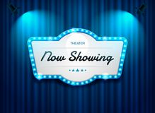 Theater sign on curtain with spotlight vector Stock Photo