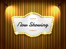 Theater sign on curtain with spotlight vector Royalty Free Stock Image