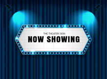 Theater sign on curtain with spotlight vector royalty free illustration