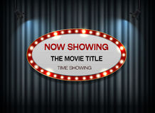 Theater sign ellipse on curtain Royalty Free Stock Photo